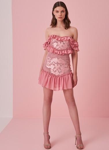 morhipo x dcey Aplike Detaylı Elbise Pudra